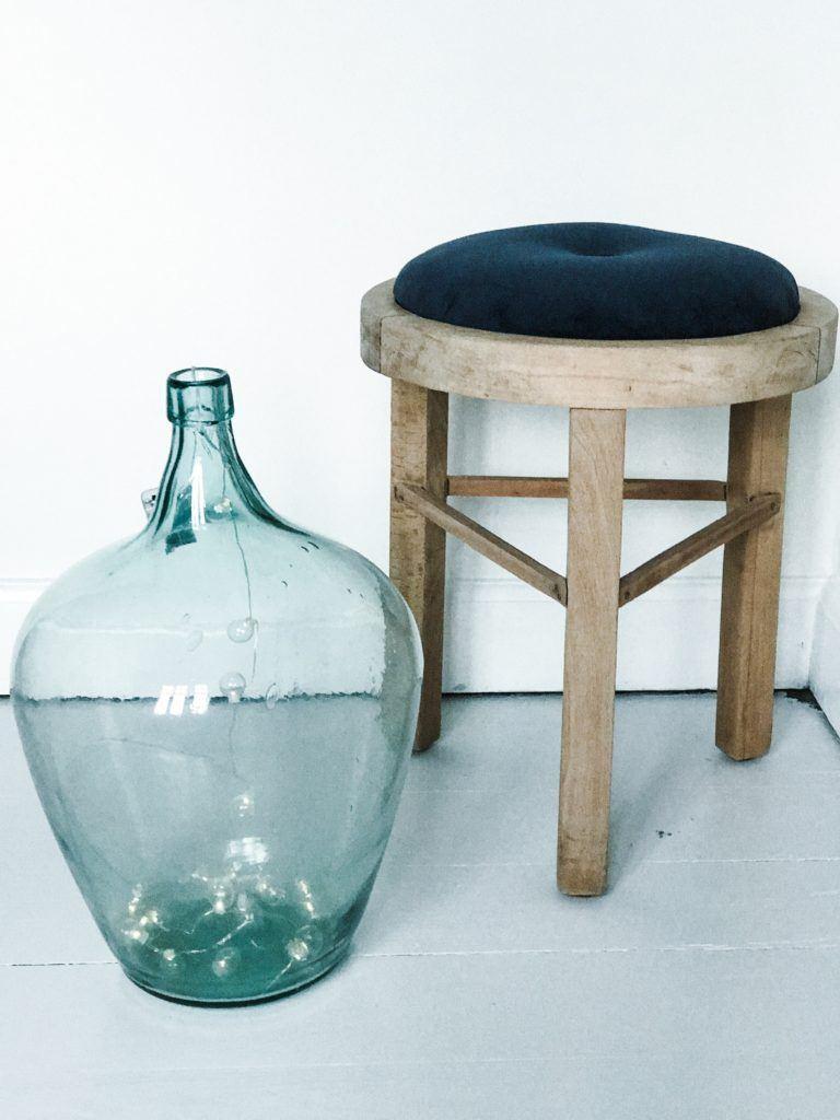 Diy ombetrækning skammel velour møbel